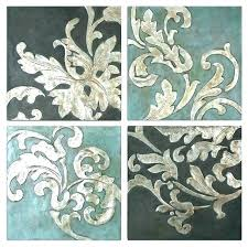 framed wall art set of 4 sets piece decor traditional metal leaf accent