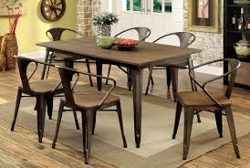 industrial dining room table and chairs. Natural Elm \u0026 Metal Finish 7 Piece Dining Set - CA3529F Industrial Room Table And Chairs
