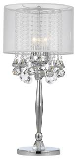 silver mist 3 light chrome crystal table lamp with white shade more info