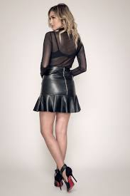 black ruffled y vegan leather skirt for women ready to wear clothes for