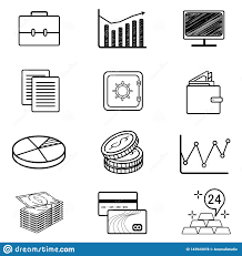 Monoweight Design Vector Set Of Monoweight Linear Icons And Symbols On Fintech