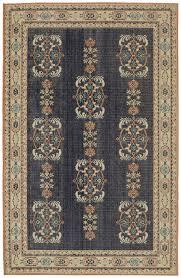 karastan blue transitional casual bordered leaves area rug fl 91428 50102