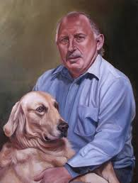 custom portrait oil painting man and dog by missysart