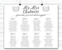 Wedding Seating Sign Black And White Wedding Seating Plan