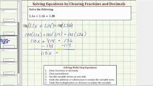 ex solve a basic two step equation with decimals clear decimals