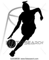 シルエット 女 バスケットボール選手 クリップアート