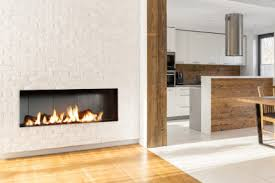 modore 140 by element4 a single sided linear gas fireplace with concrete