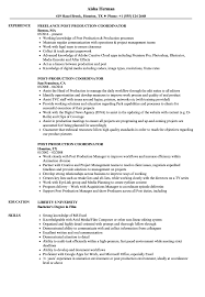 Production Resume Examples Post Production Coordinator Resume Samples Velvet Jobs