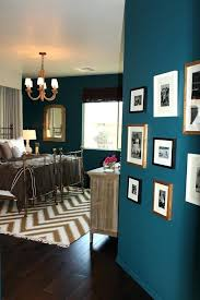 Dark Teal And Brown Living Room