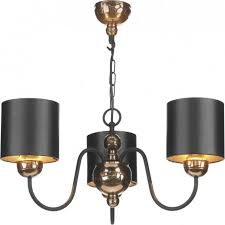 garbo 3 light chandelier fitting in bronze finish with black shades