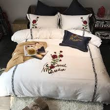black white king queen size luxury bedding sets 60s egyptian cotton rose embroidered bed sheet set bed duvet cover pillow shams toile bedding country