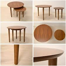 tnc wall nat round nesting tables nordic modern natural modern walnut wood living wood simple furniture retro interior design side table center table couch