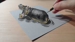 Drawing A Hippo Trompe L Oeil By Vamos Youtube Colored Drawing Paper L