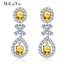 milatu luxury bridal wedding earrings women water drop long earrings cubic zirconia yellow stone statement jewelry e103tj high quality long drop ea china