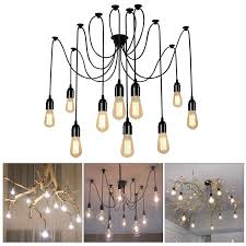Lightess Retro Industrie Kronleuchter Spinne Vintage Pendelleuchten Hängelampe E27 Anhänger Deckenleuchte Diy Höhenverstellbar 10 Flammig