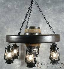 wagon wheel chandelier small with lanterns downlights