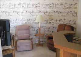 musical notes sheet music wallpaper pattern family room Surprise Arizona  home house for sale photo