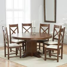 trina dark solid oak round dining table with 6 croydon chairs 7093