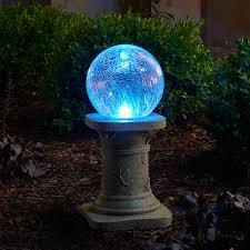 led glass solar chameleon gazing ball with pedestal