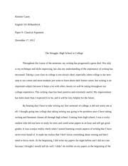 argumentative essay   bullying   argumentative essay bullying   pages the struggle high school to college