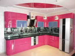 Pink Kitchen Glossy Pink And White Kitchen Cabinets Home Decor