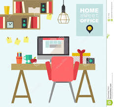 free home office. Home Office Flat Interior Illustration Free A