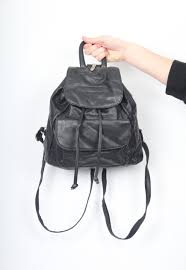 mens black faux leather backpack