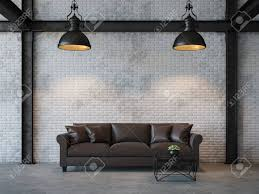 polished concrete floor loft. Loft Style Living Room 3d Rendering Image.There Are White Brick Wall,polished Concrete Polished Floor