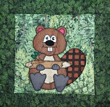 Busy beaver PDF applique quilt block pattern North American & 🔎zoom Adamdwight.com
