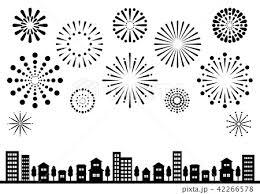 花火と街並 背景イラスト シルエット 黒のイラスト素材 42266578 Pixta