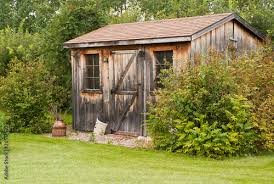 a charming rustic garden shed made