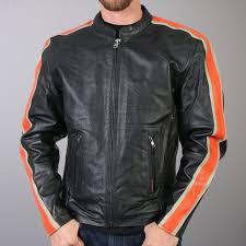 hot leathers men s leather jacket w orange cream arm stripes