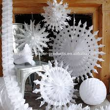 Paper Decorations Christmas White Paper Tissue Fan Christmas Decorations Paper Tissue