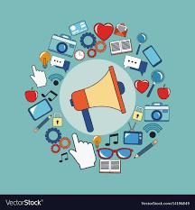 Digital marketing megaphone social media image Vector Image