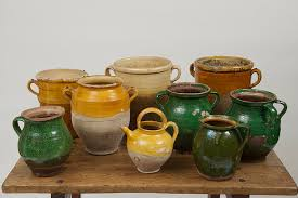 collection of french confit glazed antique pots pots de confit garden court antiques