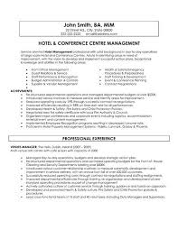 A Sample Of Resume Stunning A Resume Template For A Hotel And Conference Centre Manager You Can