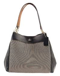 COACH Legacy Jacquard Lexy Shoulder Bag in Gold Milk F57540