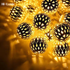 Hi Lumix 25mm Moroccan Ball <b>String</b> Light Warm White <b>4M 20LED</b> ...