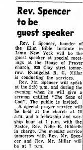 "Reverend Ivan Spencer Elim Bible Institute speaking on ""The Sons of God"" -  Newspapers.com"