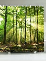 nature shower curtains sunlight forest tree waterproof fabric shower curtain nature print shower curtains