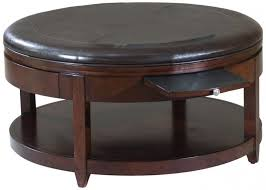 coffee table round black leather wood ottoman coffee table with pull out tray tables seating