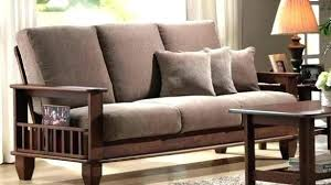 gallery of wood couch with cushions