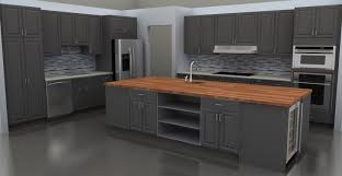 awesome dark grey kitchen ideas with refrigerator and brown countertop