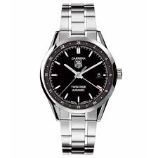 tag heuer men s carrera calibre 7 twin time automatic black dial