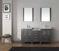 double vanity with two mirrors. middle drawers grey double sink 60 inch bathroom vanity under two framed mirrors with y