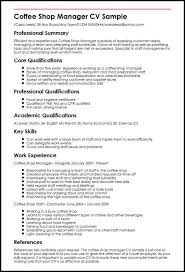 Manager Resume Sample Coffee Shop Manager Cv Sample Myperfectcv
