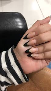 French Tip Stiletto Nail Designs Black French Tips With Foil On Stiletto Acrylic Nails