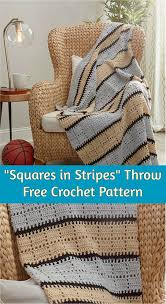 squares in stripes crochet throw pattern crochet homedecorideas