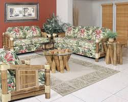 amazing living room interior design ideas with bamboo sofa furniture frame using beautiful floral fabric foam cover sofa also round coffee table using amazing bamboo furniture design ideas