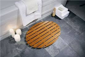 bamboo oval bath rug with dark gray ceramic floor for white bathroom ideas